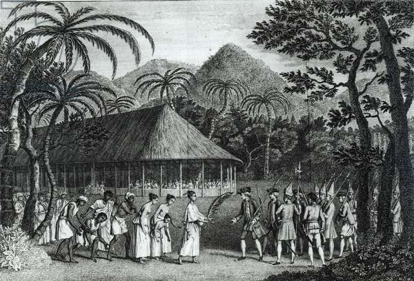 Captain Samuel Wallis (1728-1830) being received by Queen Oberea on the Island of Tahiti, from 'A Voyage to the Pacific Ocean' by James Cook (1728-79) engraved by John Hall (1739-97) (engraving) (b/w photo)