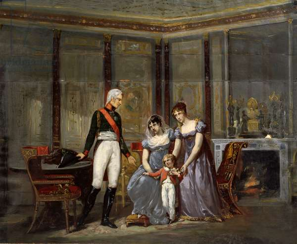 The Empress Josephine presenting her daughter, Hortense and grandson, Louis-Napoléon (future Napoléon III) to Tsar Alexander at Malmaison in May 1814 (oil on canvas)  (preparatory sketch for 42065)