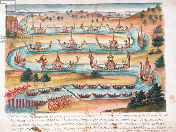 Arrival of the French Ambassadors to Siam, from an account of the Jesuits in Siam, 1688 (w/c on paper)