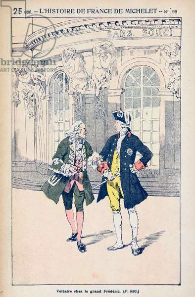 Francois Voltaire (1694-1778) with King Frederick II of Prussia (1712-86) at Sanssouci near Potsdam, from 'Histoire de France' by Jules Michelet (1798-1874) c.1900 (colour litho)