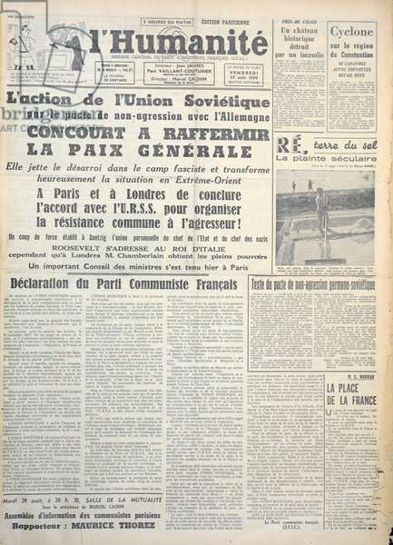 Front page of 'L'Humanite' newspaper, 25th August 1939 (printed paper)