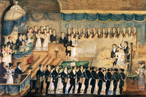 Masonic Initiation Ceremony of a lady Freemason, early 19th century (w/c on paper)