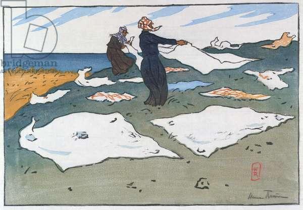 Breton Washerwomen by the Sea, c.1900 (colour litho)