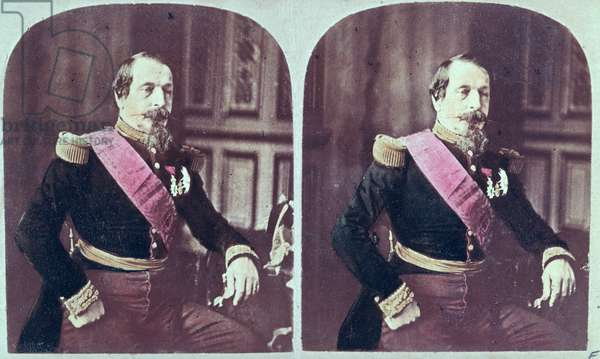 Napoleon III (1808-73), c.1860, coloured stereoscopic photograph taken between 1860 and 1870