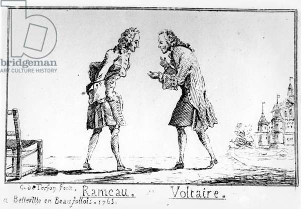 Rameau and Voltaire at Belleville, 1763 (pen & ink on paper)