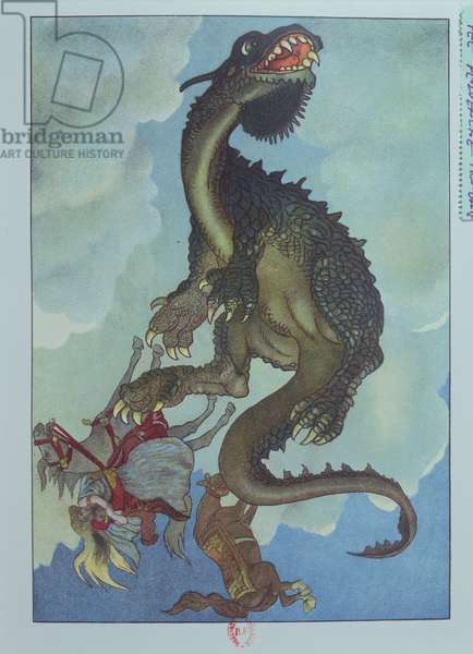 A Dragon Falling from the Sky, illustration from the Hungarian tale, 'The Story of Fairy Pervenche', c.1910 (colour litho)