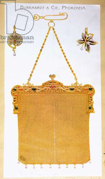 Advertisement for a golden handbag designed and made by 'Burkhardt & Company', 1906 (colour litho)