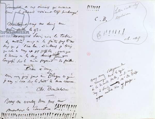 Last page of a letter to Baudelaire's editor Auguste Poulet-Malassis (1825-78) regarding the publication of 'Les Fleurs du Mal,  c.20th February 1857 (pen & ink on paper)