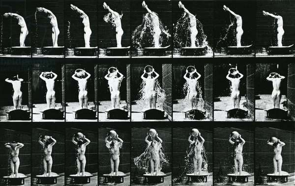 Woman Pouring a Basin of Water over her Head, illustration from 'The Human Figure in Motion', 1904 edition (b/w photo)