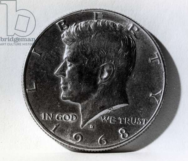 Half dollar coin depicting John F. Kennedy (1917-63) 1968 (metal) (b/w photo)