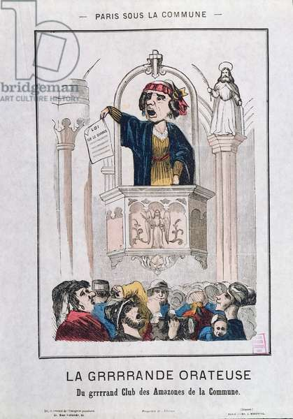 Women's Club during the Commune, 1871 (colour litho)