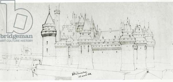 Château de Pierrefonds, 1866 (pencil on paper)