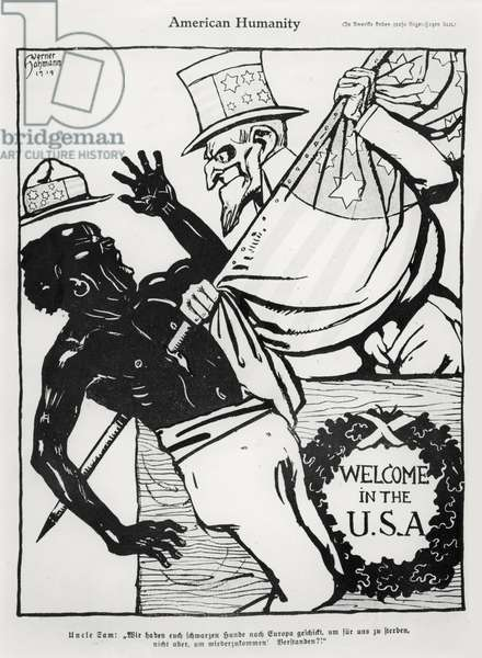 American Humanity, illustration from 'Kladderadatsch', published 1919 (engraving) (b/w photo)