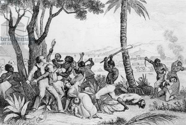 Burning of the Plaine du Cap, Haiti, 1794 (engraving) (b/w photo)