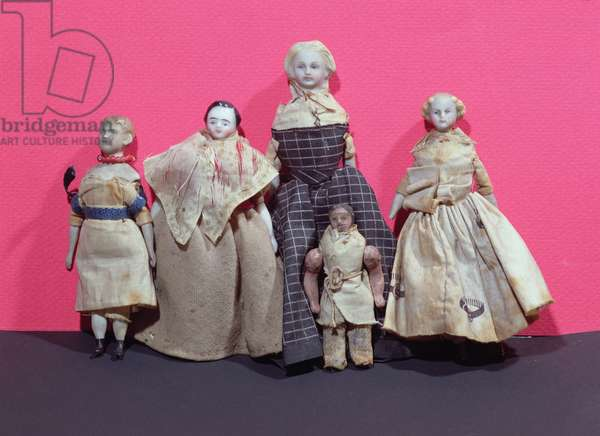 Collection of dolls, possibly used by Honore de Balzac (1799-1850) as an aide memoire for 'La Comedie Humaine' (mixed media)