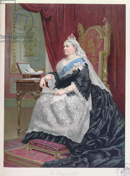 Portrait of Queen Victoria (1819-1901) at the time of her Golden Jubilee in 1887, 1887 (colour litho)
