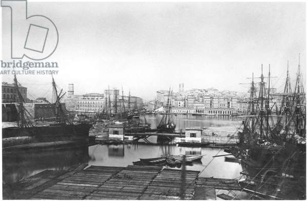 View of the port of Marseilles, late 19th century (b/w photo)