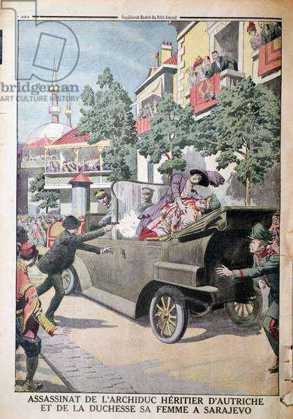 The Assassination of Archduke Franz Ferdinand of Austria (1863-1914) and his wife, Duchess Sophia, by Gavrilo Princip (1895-1918) in Sarajevo, 28th June 1914, from 'Le Petit Journal', 12th July 1914 (colour litho)