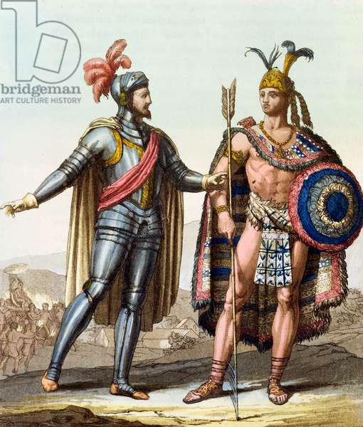 The Encounter between Hernan Cortes (1485-1547) and Montezuma II (1466-1520) from 'Le Costume Ancien ou Moderne' by Jules Ferrario, Milano, c.1820 (colour litho)