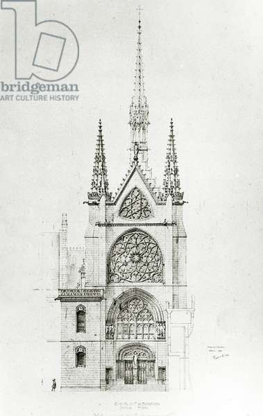 Drawing for the restoration of the Chapel, Château de Pierrefonds, 1864 (pen & ink on paper)