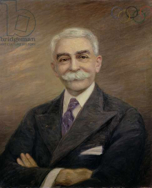 Portrait of Baron Pierre de Coubertin (1863-1937) (oil on canvas)