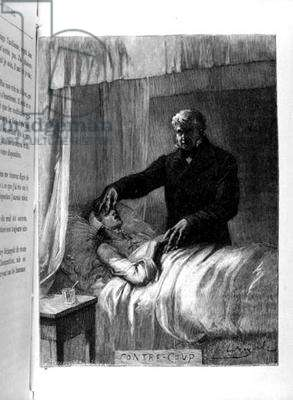 Jean Valjean closing Fantine's Eyes, illustration from 'Les Miserables' (1845-62) by Victor Hugo (1802-85), c. 1885 (engraving) (b/w photo)