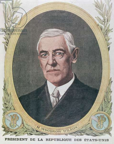 President Woodrow Wilson (1856-1924), illustration from 'Le Petit Journal' 1917 (colour litho)