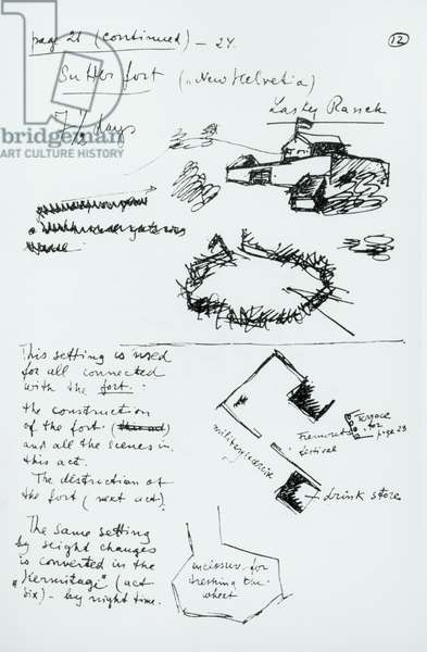 Page 21 of the synopsis of 'Sutter's Gold', c.1930-35 (pen & ink on paper) (b/w photo)