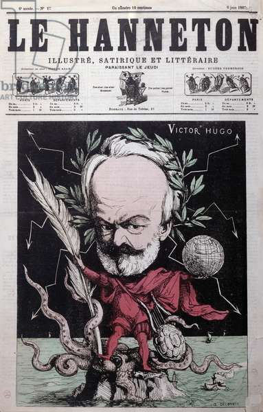 Caricature of Victor Hugo (1802-85) as Zeus in exile on Guernsey from the front cover of'Le Hanneton', June 1867 (colour litho)