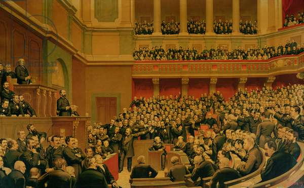 Louis Adolphe Thiers (1797-1877) Acclaimed by the National Assembly, 16th June 1877 (chromolitho)