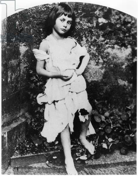 Alice Pleasance Liddell (1852-1934) as the beggar maid (b/w photo)