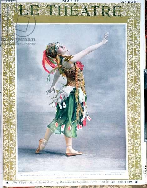 Tamara Platnovna Karsavina (1885-1978) as 'The Firebird' by Igor Stravinsky (1882-1971) from the front cover of 'Le Theatre' magazine, May 1911 (colour litho)