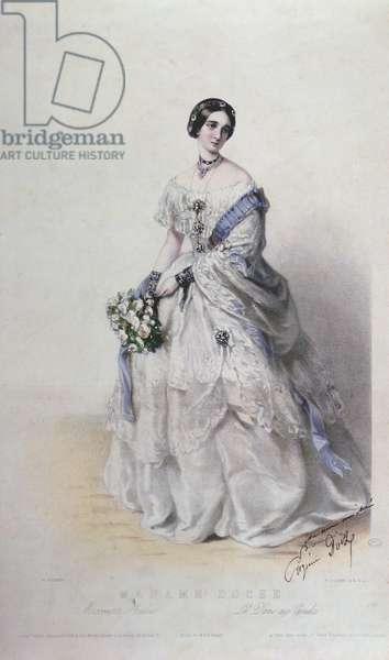 Portrait of Madame Eugenie Doche in the role of Marguerite Gautier, 'La Dame aux Camelias' (colour litho)