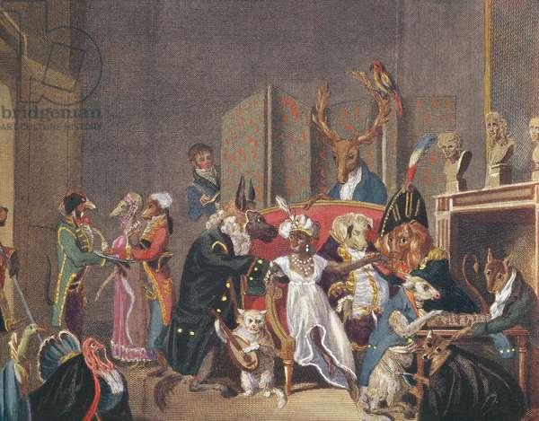 Cartoon of the Salon of Josephine (1763-1814)  (colour litho)
