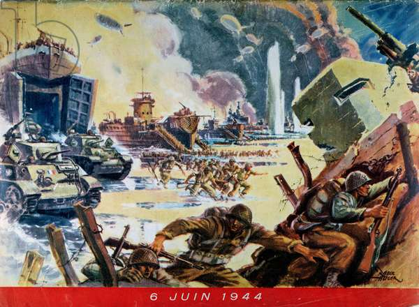 The Landing of the Allies in Normandy on 6th June 1944, 1945 (colour litho)