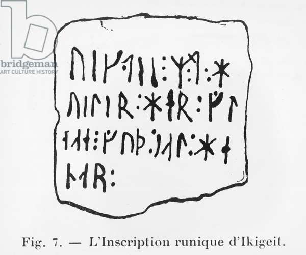 Runic inscription of Ikigeit, illustration from 'Manuel d'Archeologie Americaine' by H. Beuchat, Paris, 1912 (pen & ink on paper) (b/w photo)