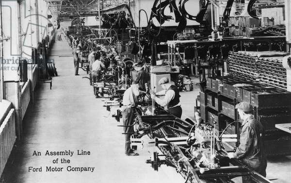 An Assembly Line at the Ford Motor Company, c.1910-20 (b/w photo)