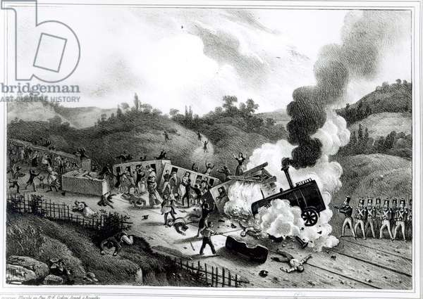 Disaster on the Railway between Versailles and Bellevue, 8th May 1842 (litho) (b/w photo)