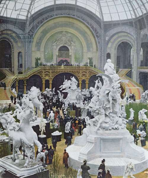The Central Nave of the Grand Pavilion, taken from 'Figaro Illustre', June 1900 (colour litho)