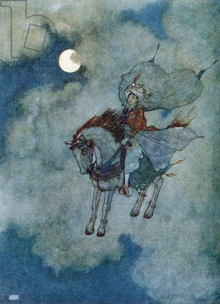 The flying horse', illustration for the story of the enchanted horse from the 'Tales from 1001 Nights', published in Potsdam in 1920 (colour litho)