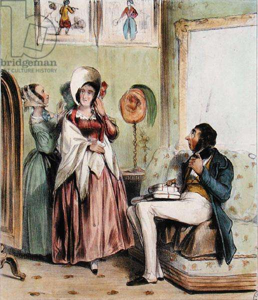 Pregnant woman's craving (colour litho)