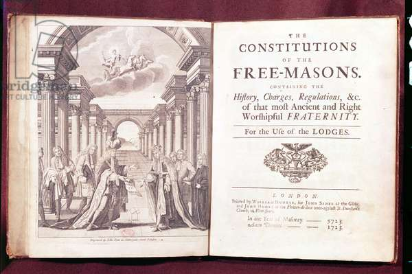 `The Constitutions of the Freemasons' by Dr James Anderson (c.1680-1739) published in London 1723 (engraving)