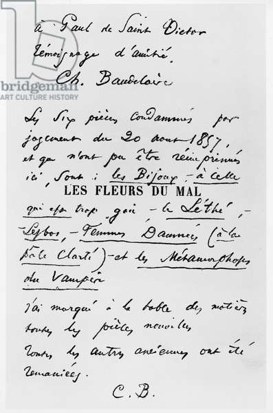 Title Page of the First Edition of 'Les Fleurs du Mal' with a dedication to Paul de Saint-Victor (pen & ink on paper) (b/w photo)