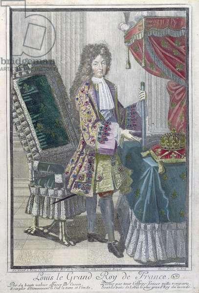 Louis XIV (colour engraving)