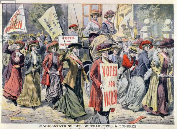 Suffragette Demonstration in London, from 'Le Petit Journal', 1908 (coloured engraving)