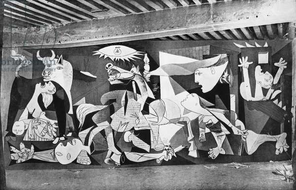 View of the painting 'Guernica' by Pablo Picasso in his studio, rue des Grands-Augustins, Paris, illustration from 'Verve', no.1, December 1937 (b/w photo)