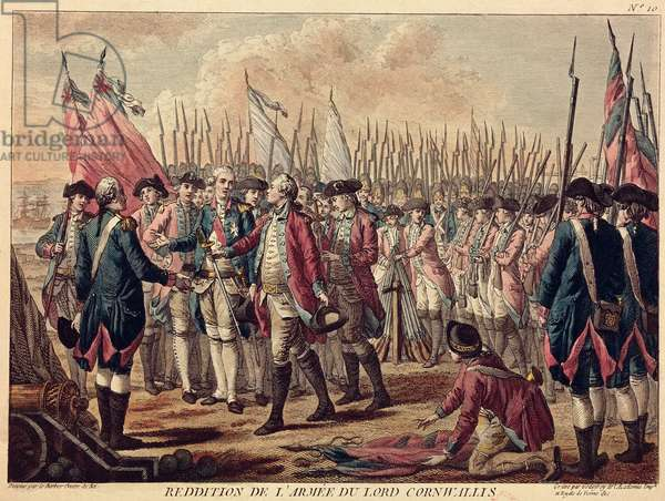 The Surrender of Yorktown, 17th October 1781 (coloured engraving)