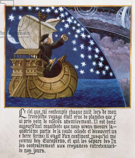 Amerigo Vespucci navigating by the stars on his 3rd voyage (colour litho)