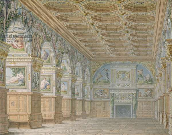 Ms 1014  The ballroom at Fontainebleau, plate from an album (w/c & pencil on paper)