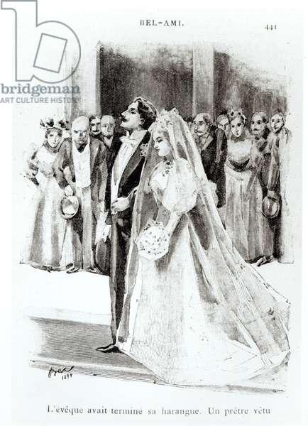 Illustration for 'Bel-Ami' by Guy de Maupassant (1850-93), published by Paul Ollendorff, Paris, 1895 (engraving) (b/w photo)